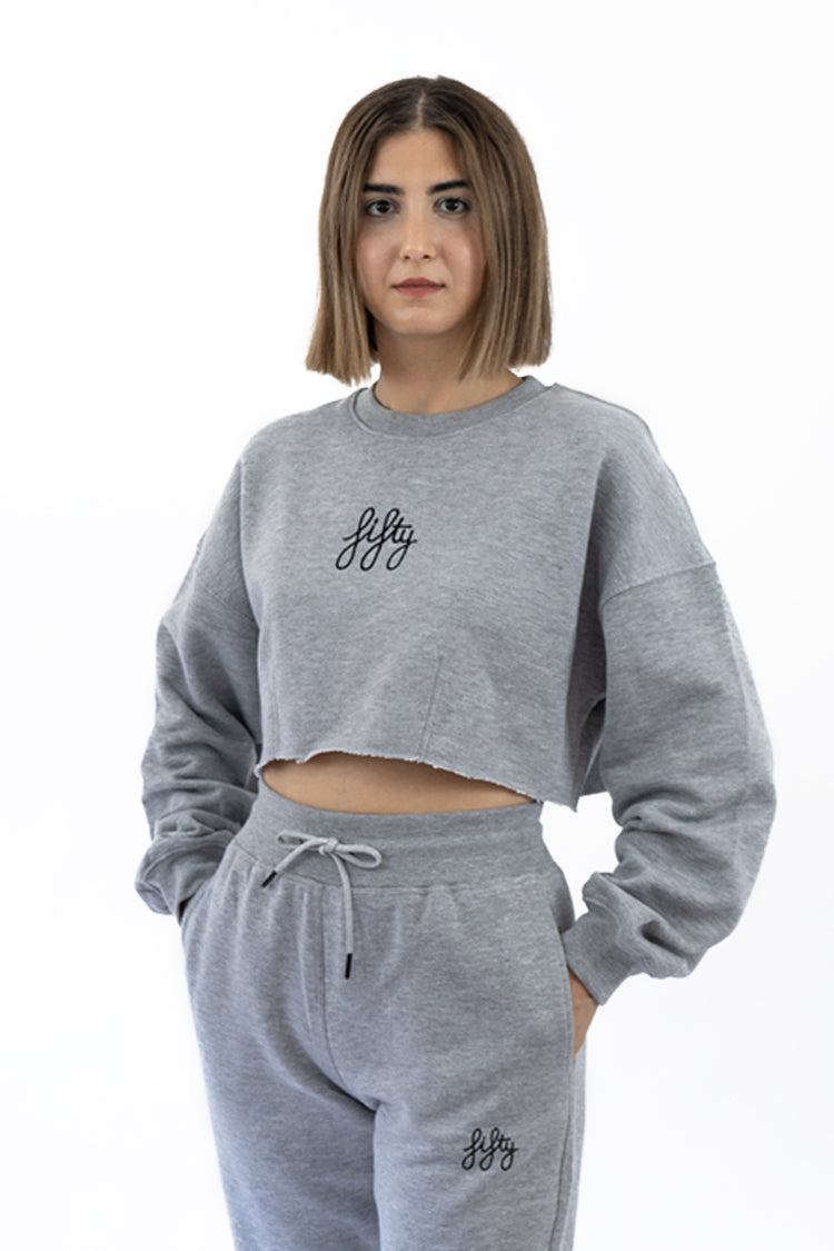 Picture of Fifty Pieces Oversize Crop Sweat Gri Melanj