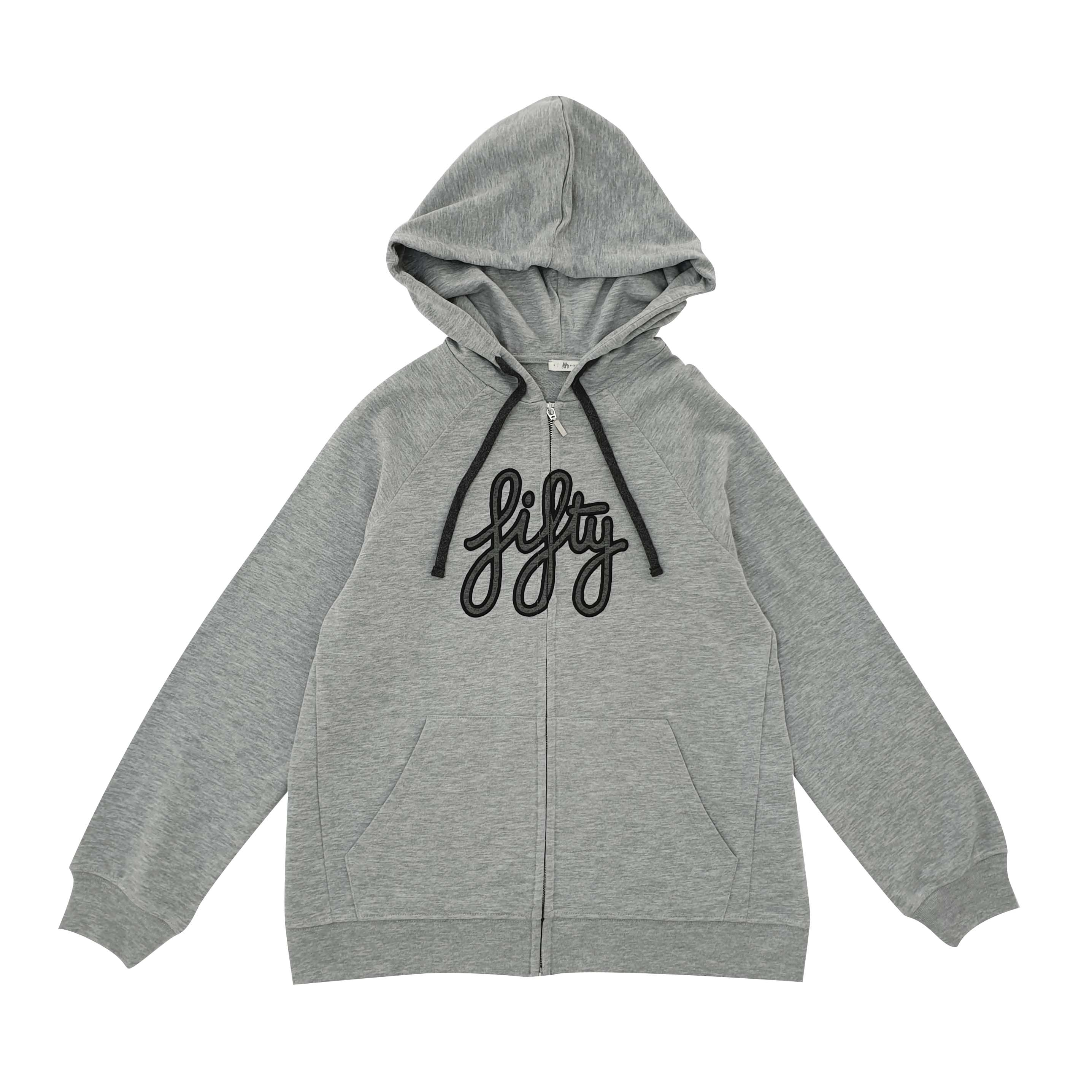 Picture of Fifty Pieces Fifty Logo Fermuarlı Hoodie Gri Melanj