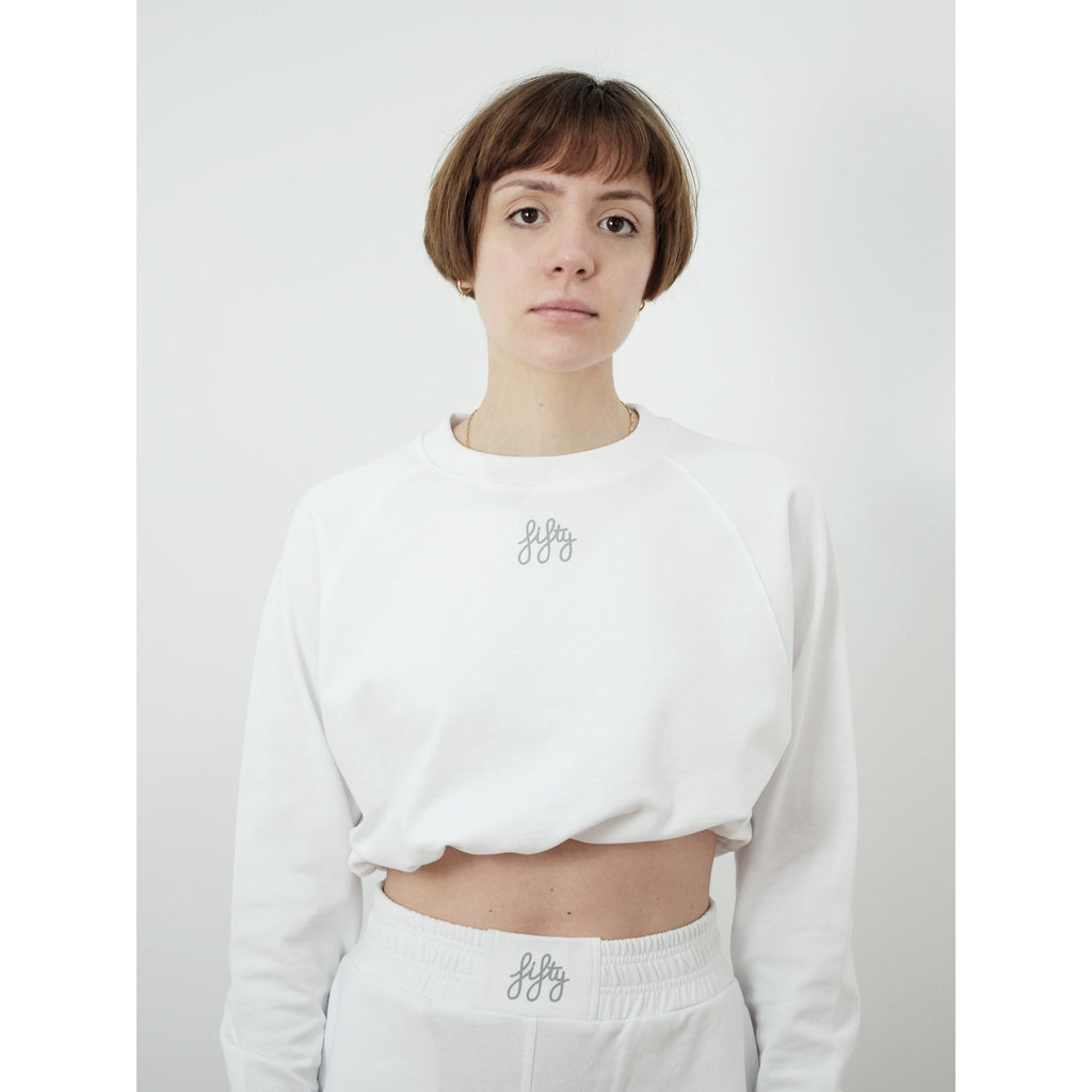 Fifty Pieces Fifty Büzgülü Crop Sweat Beyaz