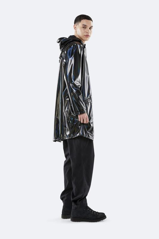 Rains Holographic Long Jacket Black Yağmurluk