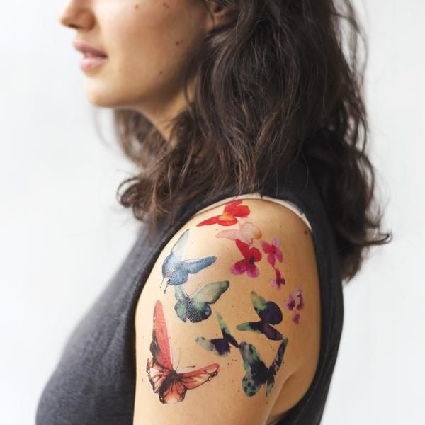 Tattly Watercolor Butterflies Set Geçici Dövme