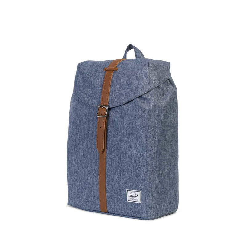 Herschel Supply Post Mid-Volume Dark Chambray Crosshatch/Tan Synthetic Leather