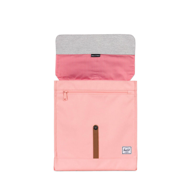 Herschel Supply City Mid-Volume Peach/Light Grey Crosshatch/Tan Synthetic Leather