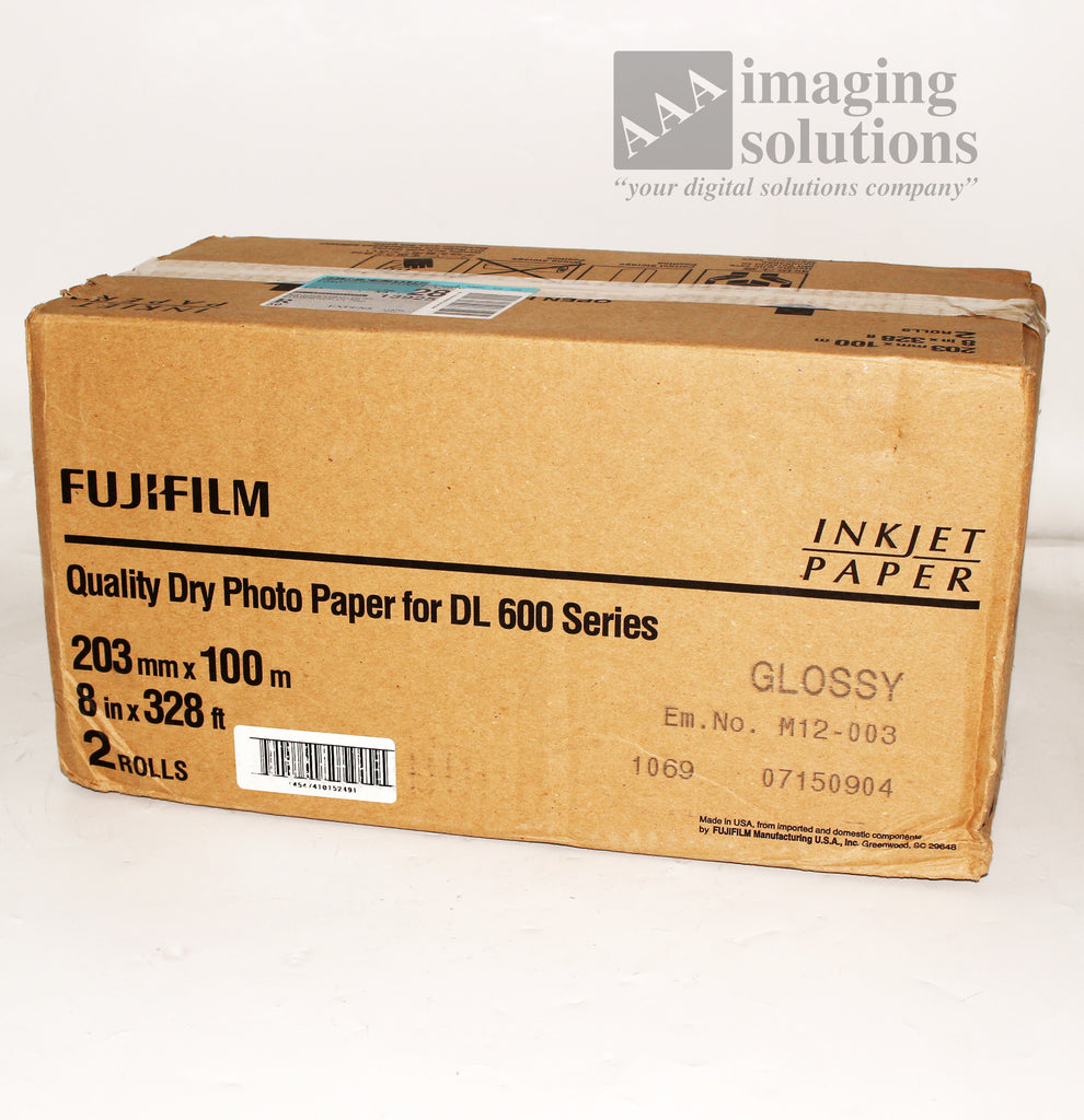 "Fujifilm GLOSSY Dry Inkjet Photo Paper 8"" x 328' for Dry Minilab DL600 Case of 2"
