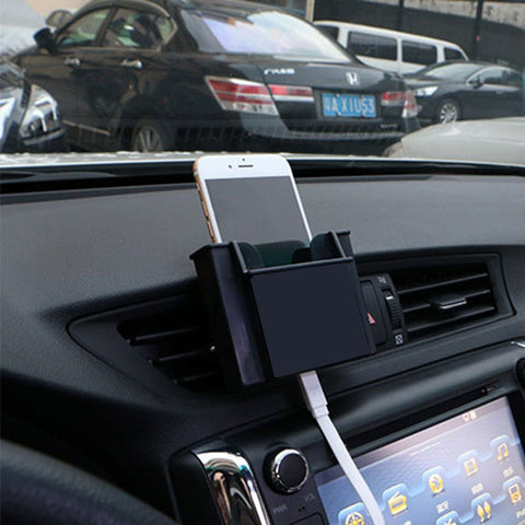 Car Outlet Wind Storage BOX + Perekat Mobile Phone Holder Aksesoris Interior Mobil - Pasarpas.com