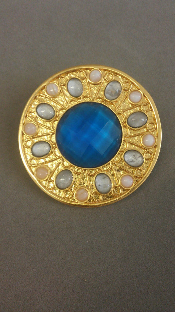 Soleil Pendant Gold - Faceted Blue Quartz Center, Silver-Backed Quartz Oval, Mother of Pearl Round