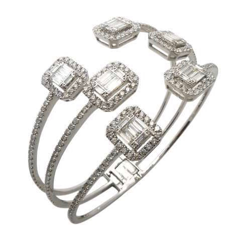 Three's Company Cuff - 18K White Gold, White Diamonds