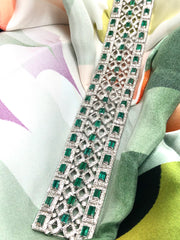 Emerald Sleeve 18K White Gold Bracelet