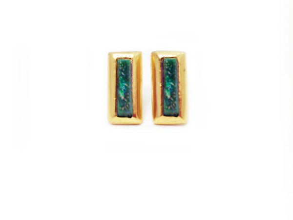 Earring - Crush Rectangle - Blue Abalone