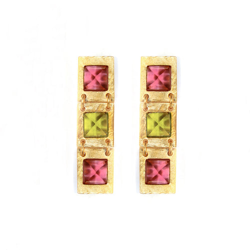 Earring - Treasure - Pink Tourmaline, Green Tourmaline