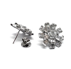 Burst Diamond Baguette 18K White Gold Earring
