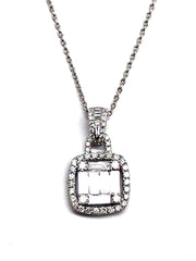 Baguette Drop 18K White Gold Necklace