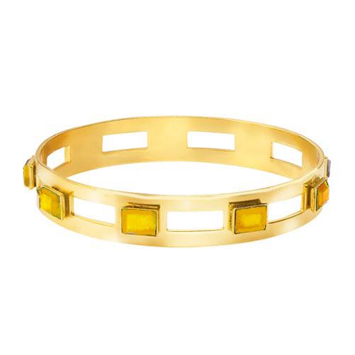 Monaco Medium Bangle In Citrine Rectangle