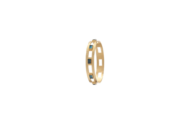 Monaco Medium Bangle In Blue Topaz Rectangle