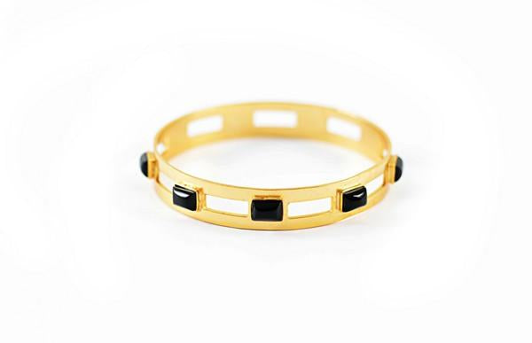Monaco Small Bangle In Black Onyx Rectangle