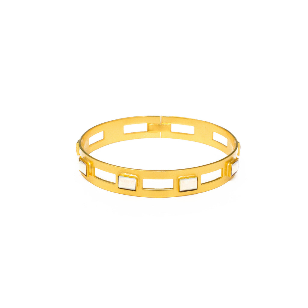 Monaco Small Bangle In White Quartz Rectangle