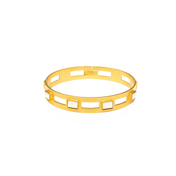 Monaco Medium Bangle In White Quartz Rectangle