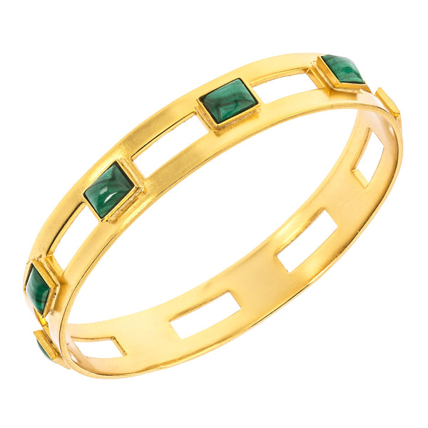 Monaco Medium Bangle In Malachite Rectangle