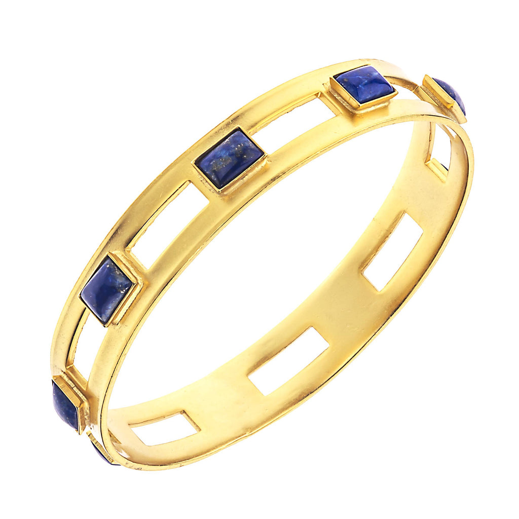Monaco Large Bangle In Blue Lapis Rectangle