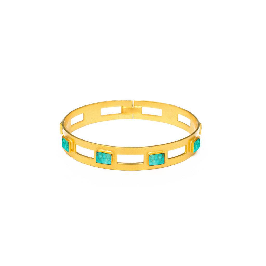 Monaco Medium Bangle In Turquoise Rectangle