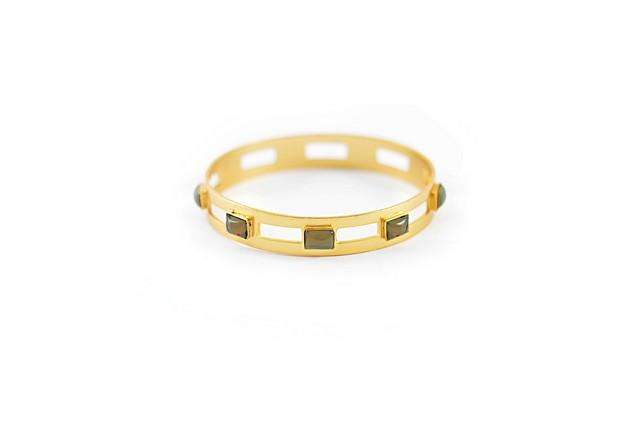 Monaco Large Bangle In Smoky Topaz Rectangle
