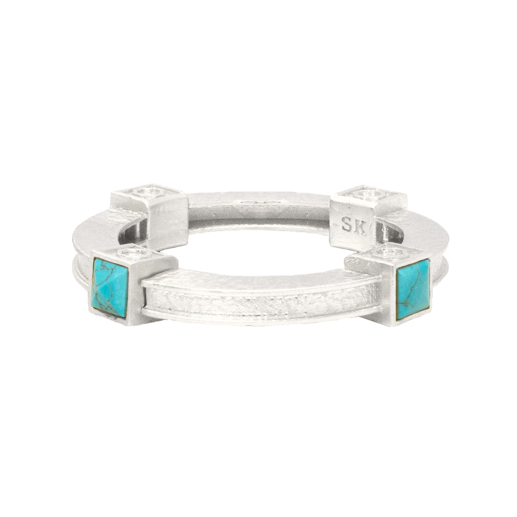 Titus Silver Bangle In Turquoise