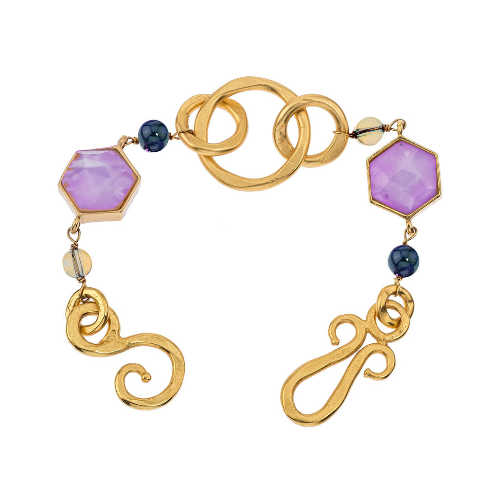 Nobility Bracelet In Amethyst, White Quartz and Labradorite
