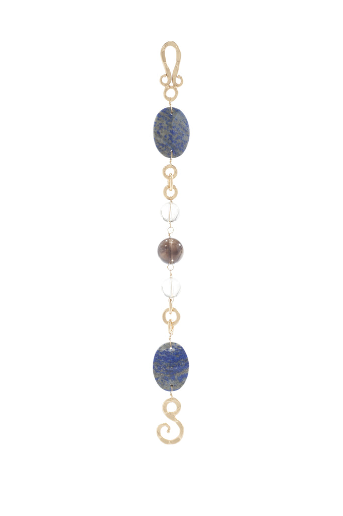 Empress Bracelet In Oval Blue Lapis, Smoky Topaz Sphere and White Quartz Sphere