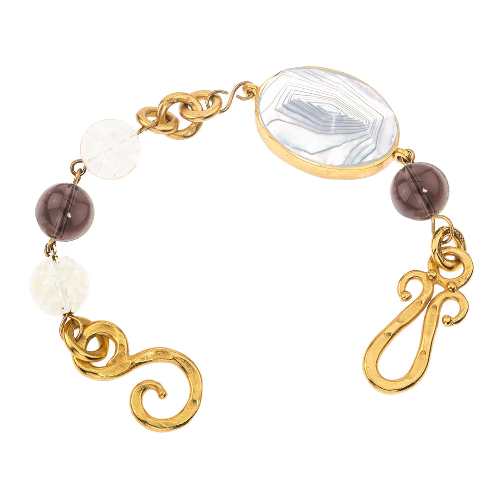 Empress Bracelet In Mother of Pearl Oval, White Quartz Sphere and Smoky Topaz Sphere