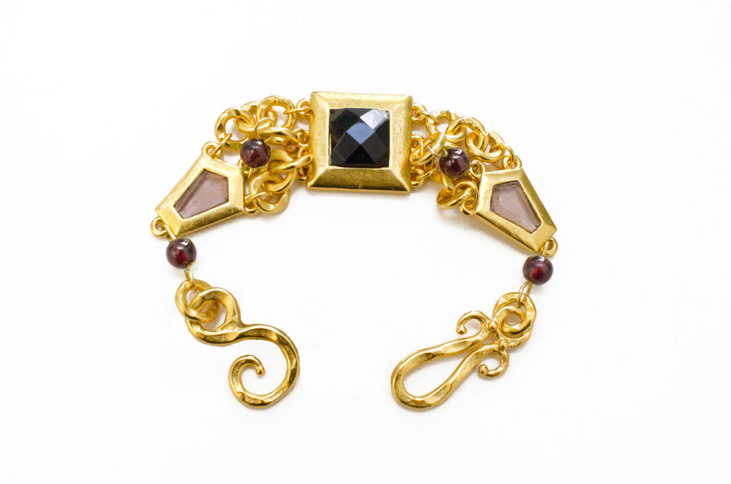 Tivoli Bracelet In Smoky Topaz-Black Onyx Square and Red Garnet Sphere