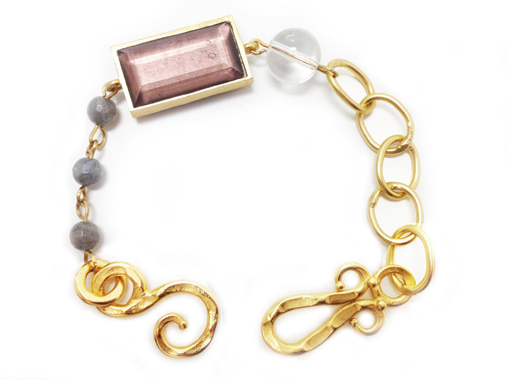 Monte Carlo Bracelet In Smoky Topaz Rectangle, White Quartz and Pyrite
