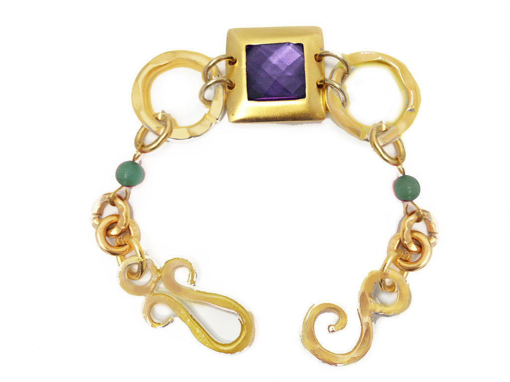 Hope Bracelet In Amethyst Square -Green Aventurine Sphere and Green AventurIne