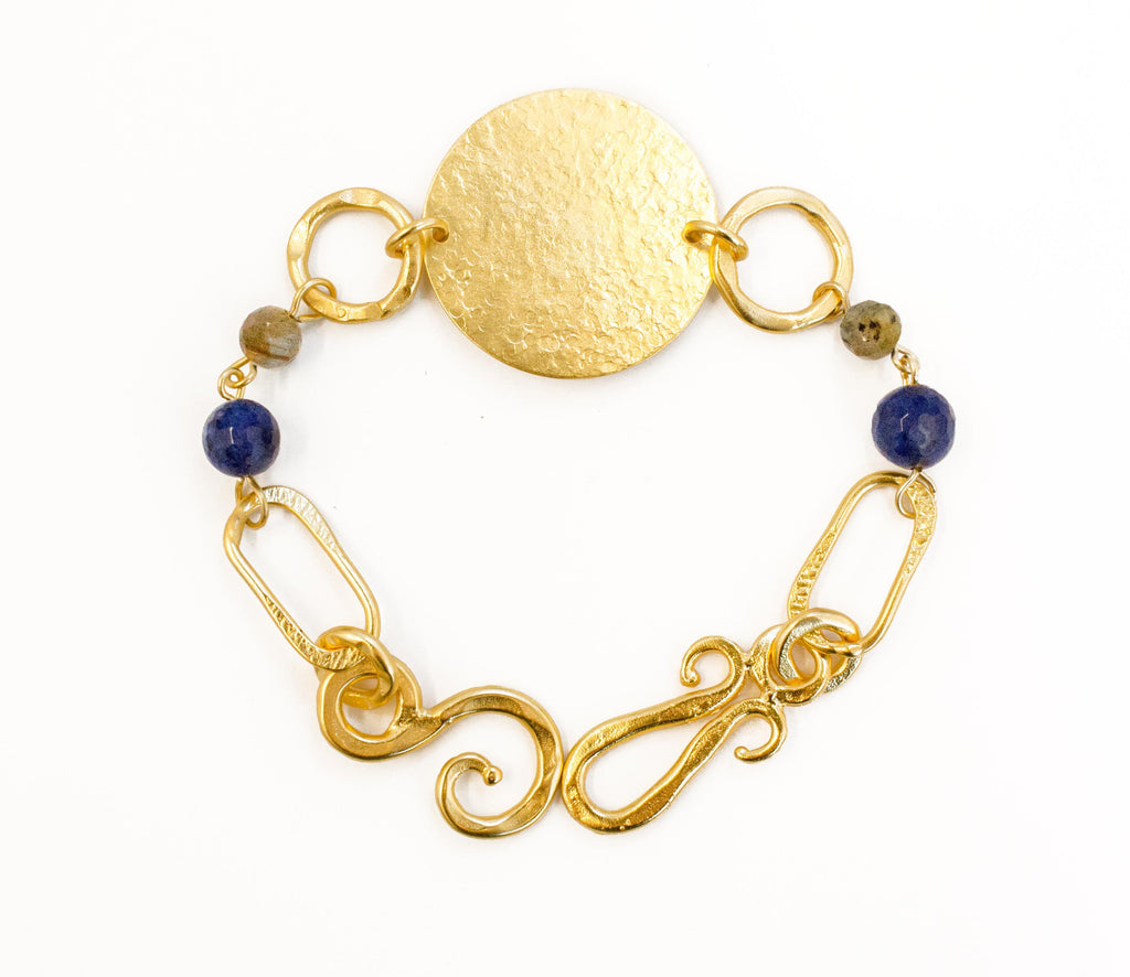 Love Bracelet In Labradorite Sphere and Blue Lapis Round