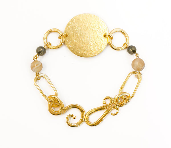 Love Bracelet In Mother of Pearl Sphere and Pyrite Round