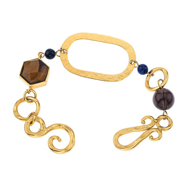 Peace Bracelet In Tigers Eye Hexagon, Black Onyx Sphere, Blue Lapis Sphere and Smoky Topaz Sphere
