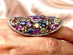 Mosaic Shield Multi-Sapphire 18K White Gold Ring