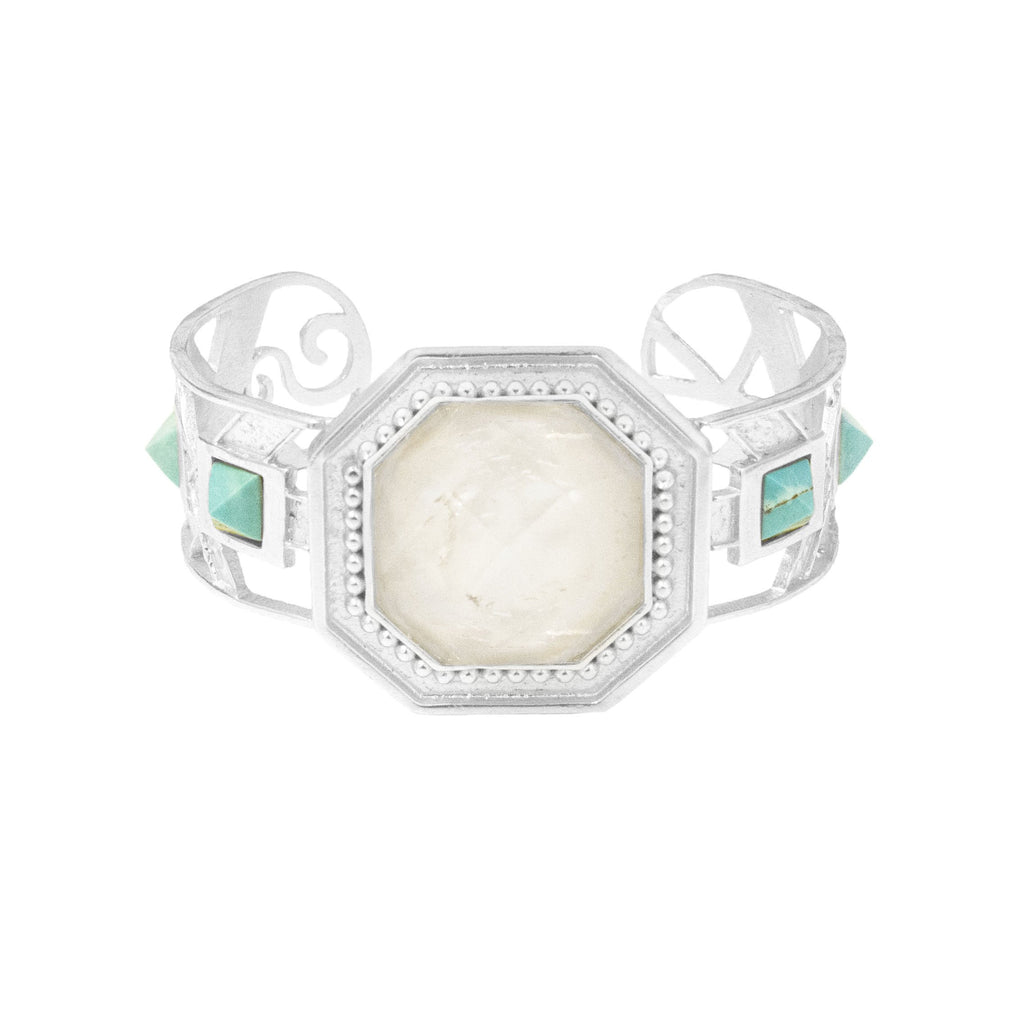 Joy Silver Cuff In White Quartz and Turquoise