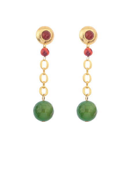 Galaxy Short Gold Earring - Green Aventurine-Carnelian