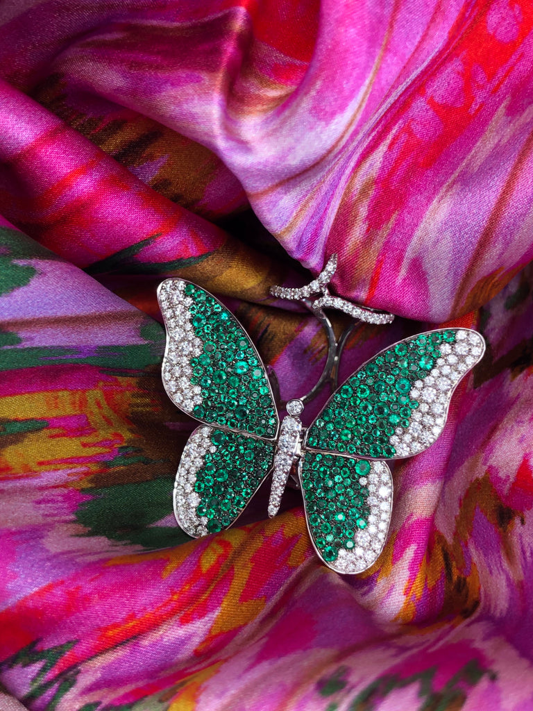 Monarch 18K White Gold Butterfly Ring - White Diamonds & Emerald
