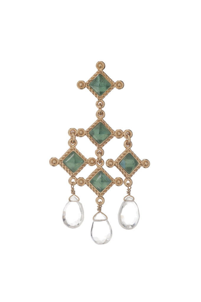 Venetian Chandelier Earring In Blue Quartz and Smoky Topaz Briolets
