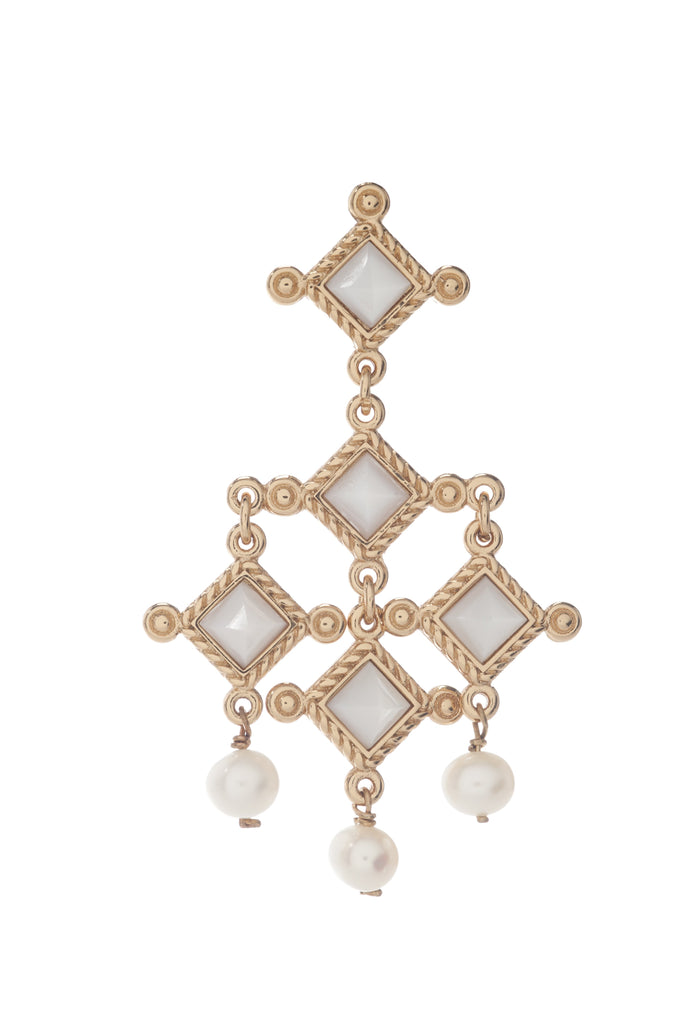 Venetian Chandelier Earring In Mother of Pearl and Pearl Spheres