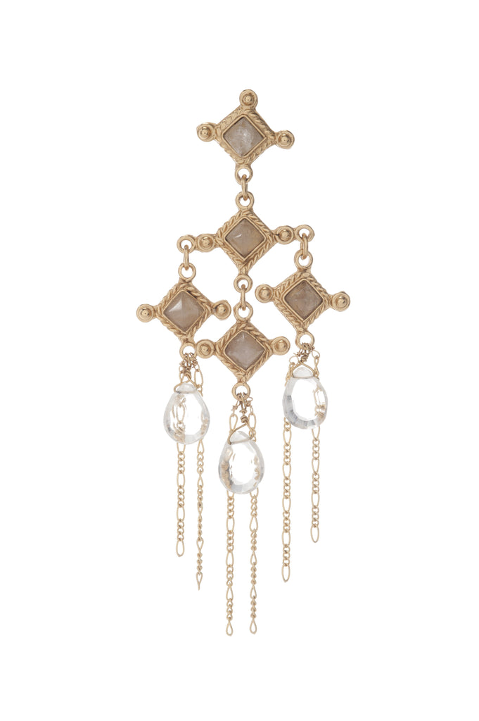 Venetian Chandelier Earring In Milky White Quartz and Clear Briolets with Chain