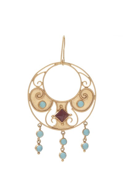 Antiquity Round Earring In Carnelian and Blue Topaz