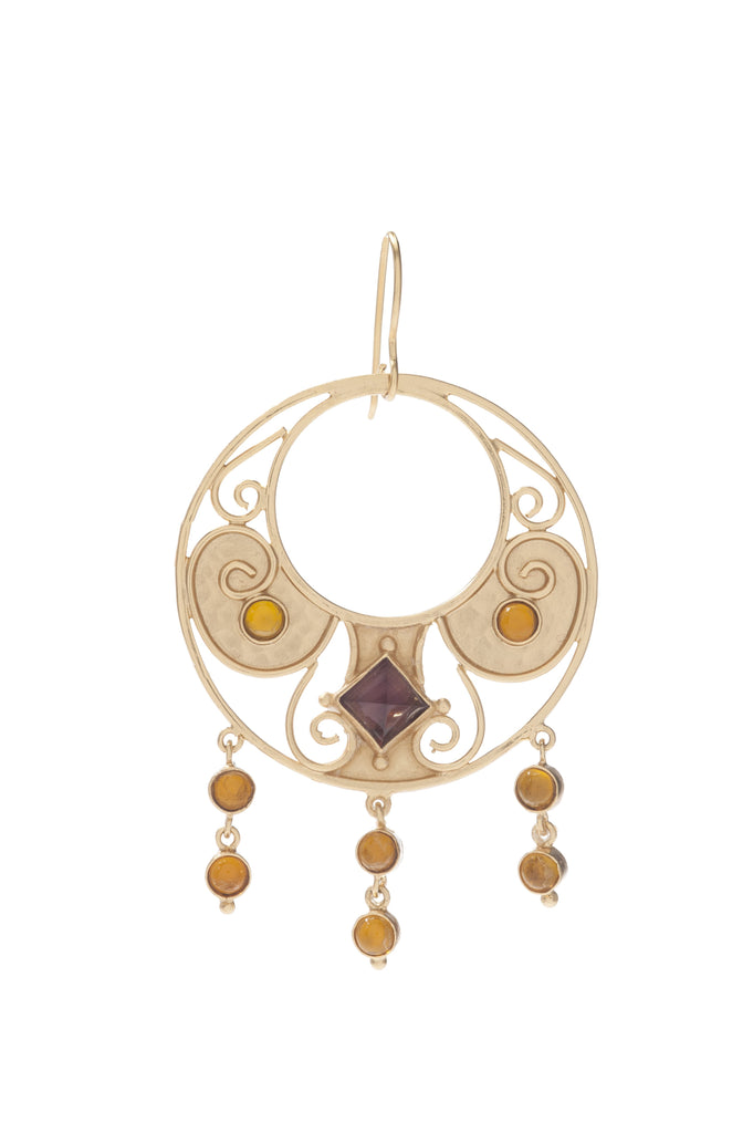 Antiquity Round Earring In Light Amethyst and Citrine