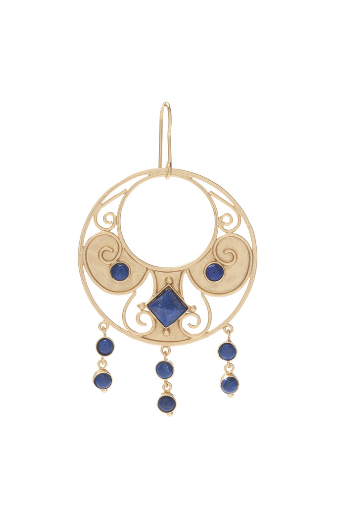 Antiquity Round Earring In Blue Lapis Center and Blue Lapis Rounds