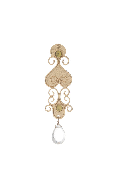 Antiquity Long Earring In Peridot and White Quartz Briolet
