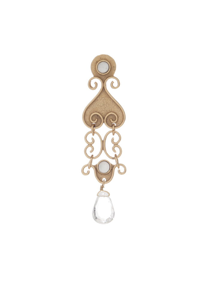 Antiquity Long Earring In Clear Quartz and Clear Quartz Briolet