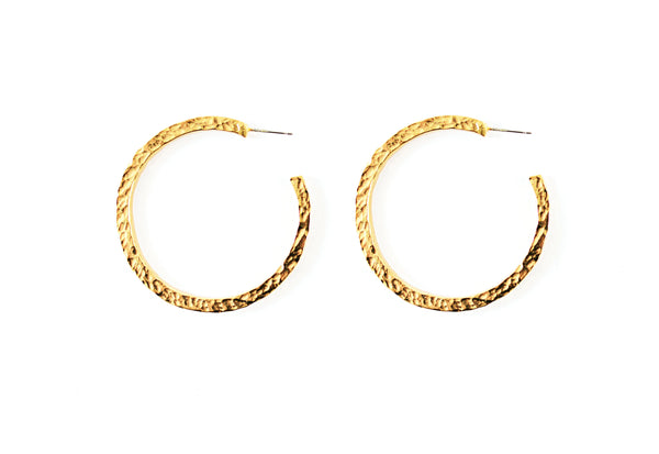 Nugget Hoop Medium Gold Earring