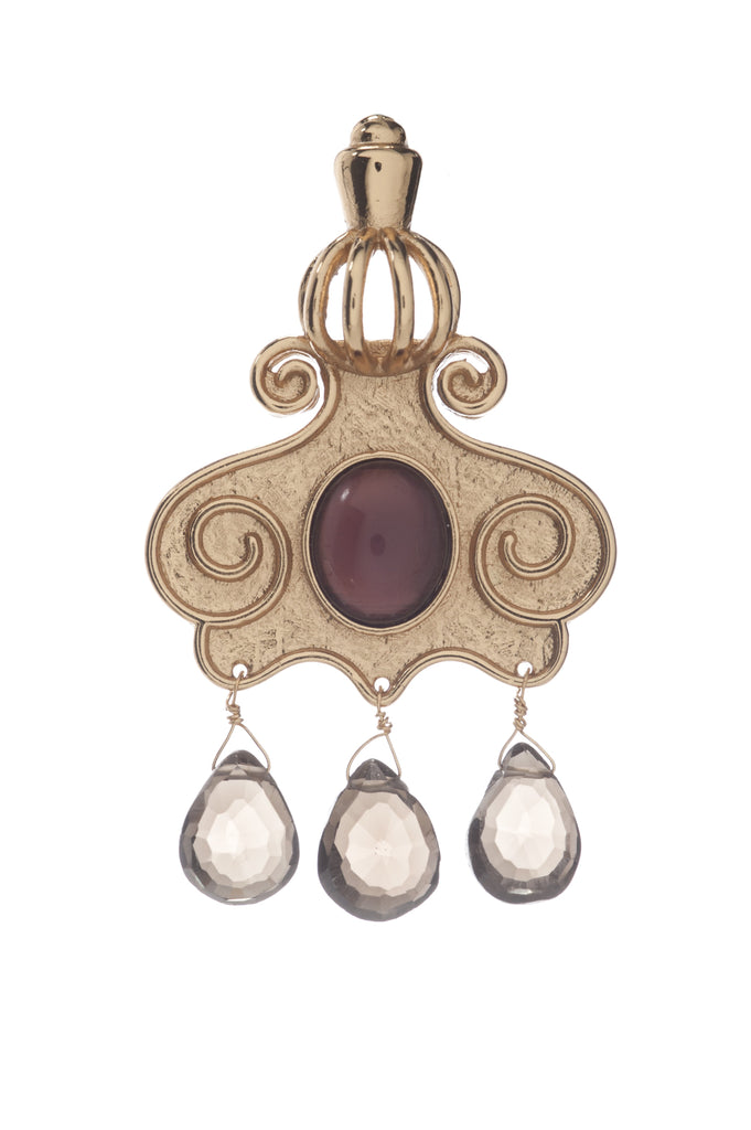 Cupola Earring In Dark Amethyst and Smoky Topaz Drops