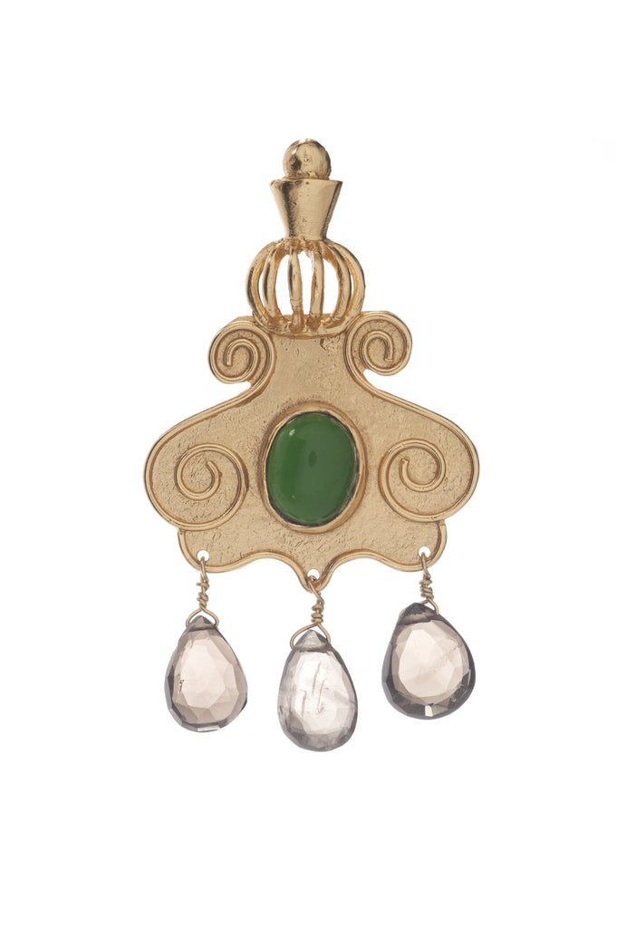 Cupola Earring In Green Topaz and Smoky Topaz Drops